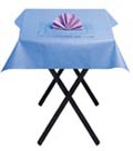 Parma violet napkin with Lavender Blue table cover and placemat